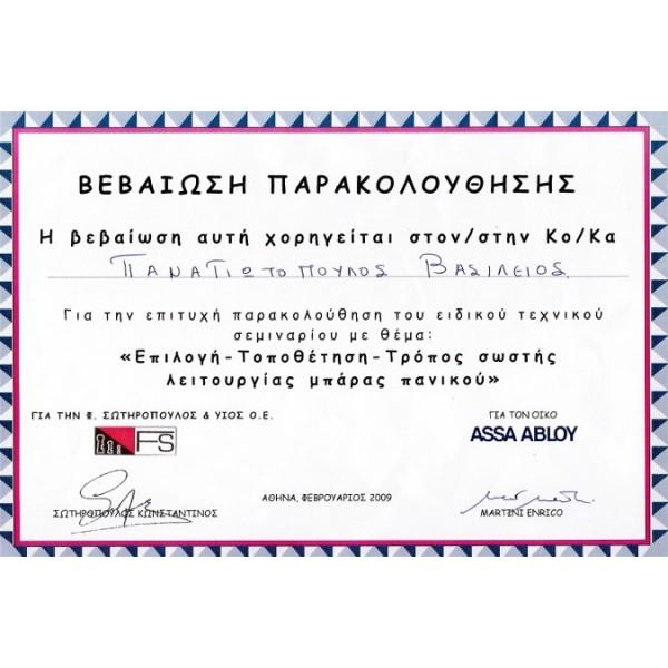 ΤΕΧΝΙΚΟ ΣΕΜΙΝΑΡΙΟ ΜΠΑΡΕΣ ΠΑΝΙΚΟΥ FS 2009